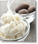 Shea Butter And Nuts In Bowls Metal Print by Elena Elisseeva