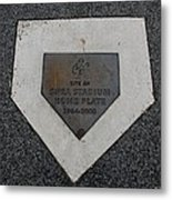 Shea Stadium Home Plate Metal Print by Rob Hans