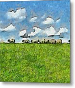 Sheep Herd Metal Print by Ayse Deniz