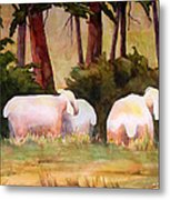 Sheep In The Meadow Metal Print by Blenda Studio