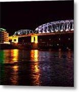 Shelby Street Bridge At Night Metal Print by Dan Sproul
