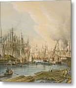 Ship Building At Limehouse Metal Print by William Parrot