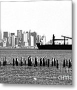 Ship In The Harbor 1990s Metal Print by John Rizzuto