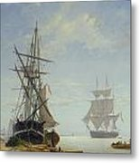 Ships In A Dutch Estuary Metal Print by WA Van Deventer