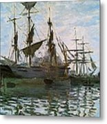 Ships In Harbor Metal Print by Claude Monet - L Brown