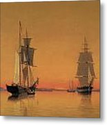 Ships In The Boston Harbor At Twilight Metal Print by William Bradford
