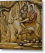Shiva Parvati Ganesha Metal Print by Vrindavan Das