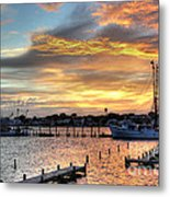 Shrimp Boats At Sunset Metal Print by Benanne Stiens