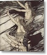 Siegfried Siegfried Our Warning Is True Flee Oh Flee From The Curse Metal Print by Arthur Rackham