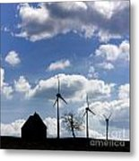 Silhouette Of A Farm And A Tree Metal Print by Bernard Jaubert