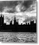 Silhouette Of  Palace Of Westminster And The Big Ben Metal Print by Semmick Photo
