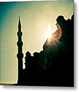 Silhouettes Of Blue Mosque Istambul Turkey Metal Print by Raimond Klavins