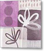 Simple Flowers- Contemporary Painting Metal Print by Linda Woods