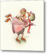 Skating Ducks 2 Metal Print by Kestutis Kasparavicius