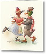 Skating Ducks 9 Metal Print by Kestutis Kasparavicius