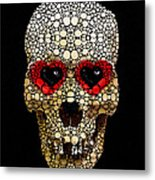 Skull Art - Day Of The Dead 3 Stone Rock'd Metal Print by Sharon Cummings
