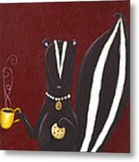 Skunk With Coffee Metal Print by Christy Beckwith