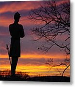 Sky Fire - 124th Ny Infantry Orange Blossoms-1a Sickles Ave Devils Den Sunset Autumn Gettysburg Metal Print by Michael Mazaika