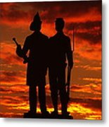 Sky Fire - 73rd Ny Infantry Fourth Excelsior Second Fire Zouaves-a1 Sunrise Autumn Gettysburg Metal Print by Michael Mazaika