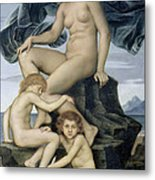 Sleep And Death The Children Of The Night Metal Print by Evelyn De Morgan