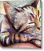 Sleeping Kitten Metal Print by Olga Shvartsur