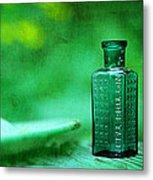Small Green Poison Bottle Metal Print by Rebecca Sherman