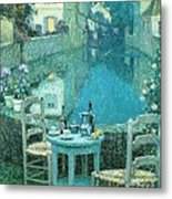 Small Table In Evening Dusk Metal Print by Pg Reproductions
