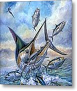 Small Tuna And Blue Marlin Jumping Metal Print by Terry Fox