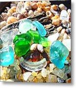 Smiley Face Beach Seaglass Blue Green Art Prints Metal Print by Baslee Troutman