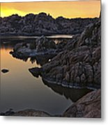 Smoky Sunset On Watson Lake Metal Print by Dave Dilli