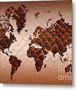 Snake Skin World Map Metal Print by Zaira Dzhaubaeva
