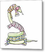 Snake Wearing A Scarf Metal Print by Christy Beckwith