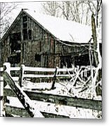 Snow Covered Barn Metal Print by Kimberleigh Ladd