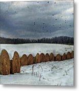 Snow Covered Hay Bales Metal Print by Kathy Jennings