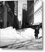 Snow On Broadway 1990s Metal Print by John Rizzuto