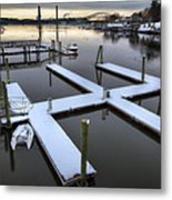 Snow On The Docks Metal Print by Eric Gendron