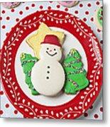 Snowman Cookie Plate Metal Print by Garry Gay