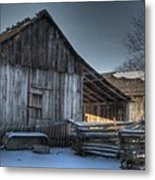 Snowy Barn Metal Print by Jane Linders