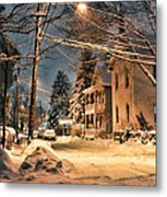 snowy night in Northampton Metal Print by HD Connelly