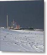 Snowy Piers Metal Print by Laura Wroblewski