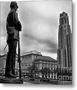 Soldiers Memorial And Cathedral Of Learning Metal Print by Thomas R Fletcher