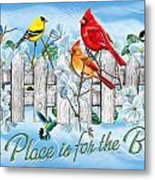 Songbirds Fence Metal Print by JQ Licensing