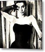 Sophia Loren - Black And White Metal Print by Absinthe Art By Michelle LeAnn Scott