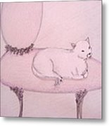 Sophisticated Cat Metal Print by Christine Corretti