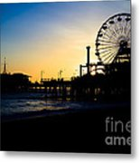 Southern California Santa Monica Pier Sunset Metal Print by Paul Velgos