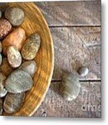 Spa Rocks In Wooden Bowl On Rustic Wood Metal Print by Sandra Cunningham