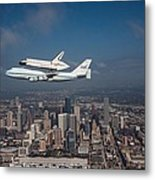 Space Shuttle Endeavour Over Houston Texas Metal Print by Movie Poster Prints