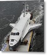 Space Shuttle Enterprise Is Barged To The Intrepid Air And Space Museum Metal Print by Steven Spak