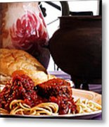 Spaghetti And Meatballs Metal Print by Camille Lopez