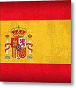 Spain Flag Vintage Distressed Finish Metal Print by Design Turnpike